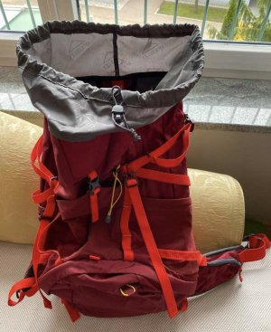 McKinley Trekking Backpack dark red-neon orange nylon