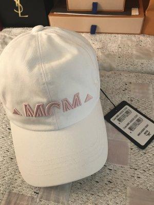 MCM Berretto da baseball bianco-rosa antico Cotone