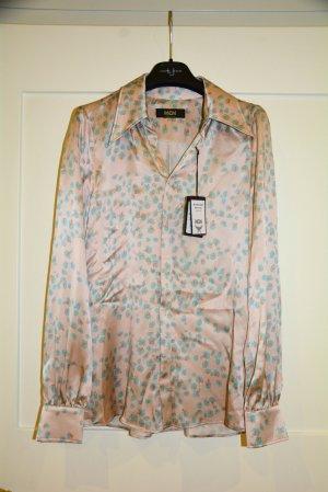 MCM Bluse Seide Seidenbluse Floral Leopard Print Powder Pink S
