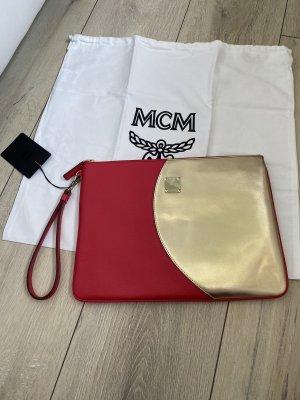 MCM Bolso de mano color oro-rojo oscuro