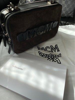 MCM Sac porté épaule brun foncé-brun noir cuir