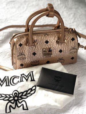 MCM Sac bowling or rose cuir