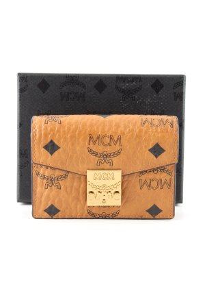 MCM Portemonnee bruin-zwart gedrukte letters casual uitstraling