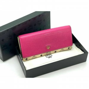 MCM Geldbörse Elfenbein Pink Logo Portemonnaie Kartenetui Etui Size Large + Box