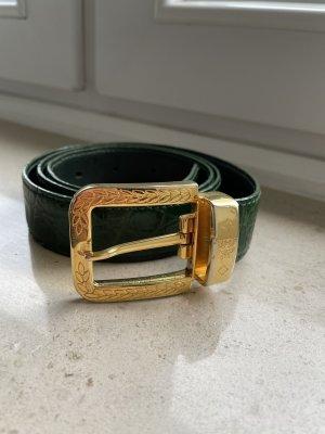 MCM Cintura di pelle verde bosco-oro