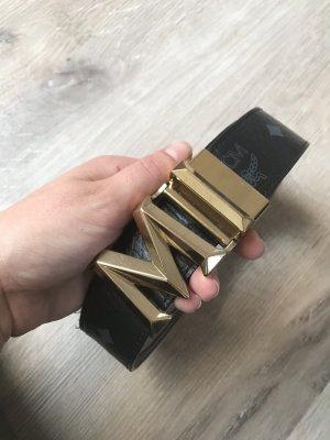 MCM Cinturón de cuero negro-gris
