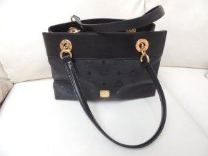 MCM Handtasche / Henkeltasche, schwarz mit Gold