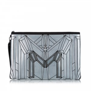 MCM Clutch silver-colored leather