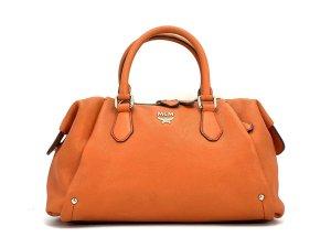 MCM Leder Schultertasche 2Way Tasche Orange Silber Shopper Bag Henkeltasche