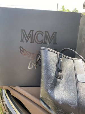 MCM Sac Baril noir-argenté tissu mixte