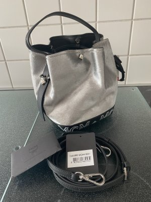 MCM Luxus Beuteltasche silber schwarz Limited Edition