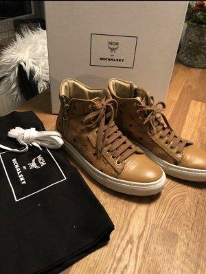 MCM Sneaker alta cognac-bianco