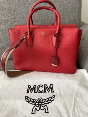 MCM Carry Bag red leather
