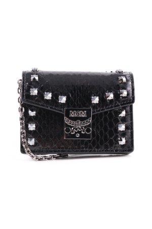 MCM Mini sac noir-argenté motif animal élégant
