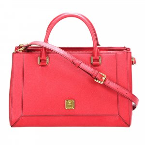 MCM Satchel red leather