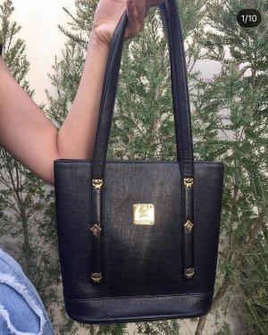MCM Shoulder Bag black-gold-colored leather