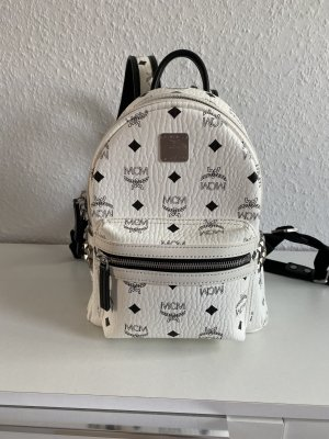 MCM School Backpack white leather