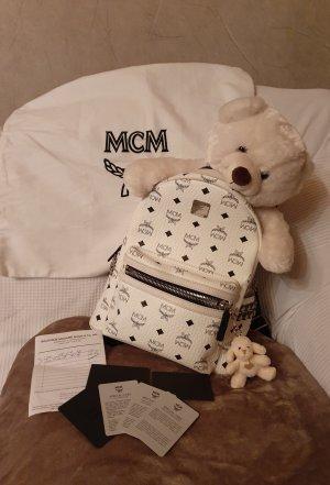 MCM Sac à dos pour ordinateur portable blanc cuir