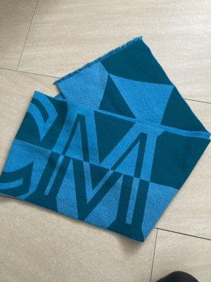 MCM Écharpe en laine bleu acier-bleuet coton