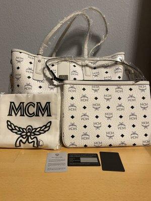 MCM Borsa shopper bianco-nero