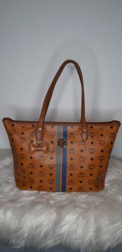 MCM Torba shopper cognac-niebieski
