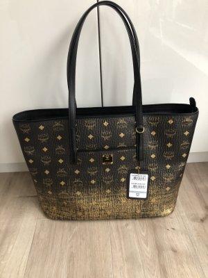 MCM Shopper zwart-goud Leer