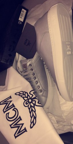 MCM High Top Sneaker silver-colored-white