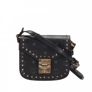 MCM Studded Visetos Patricia Leather Crossbody Bag
