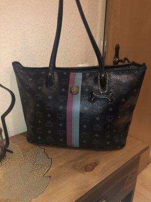 MCM Shoulder Bag dark blue-black leather