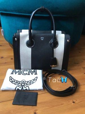 MCM Tasche Neo Milla Canvas Medium Schwarz Creme Weiss Silber