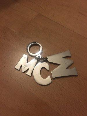 MCM Taschen/Schlüssel Anhänger silber/bunt mit eingraviertem Logo neuwertig