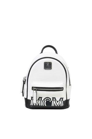 Mcm Tragetasche in Schwarz / Weiß aus Leder