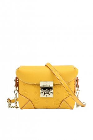Mcm Umhängetasche in Gelb aus Leder