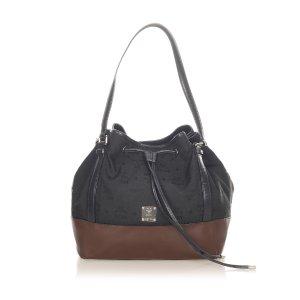 MCM Visetos Drawstring Nylon Bucket Bag
