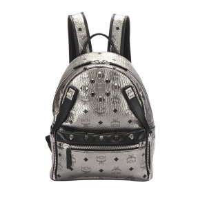 MCM Backpack silver-colored leather