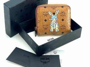 MCM Visetos Geldbörse Portemonnaie Kartenetui Cognac Rabbit Print Etui Medium