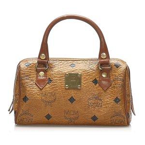 MCM Visetos Leather Boston Bag