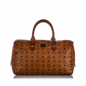 MCM Visetos Leather Boston Bag