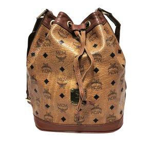 MCM Visetos Leather Drawstring Bucket Bag