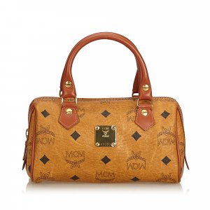 MCM Visetos Leather Mini Boston Bag