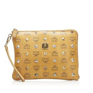 MCM Visetos Studded Leather Clutch Bag