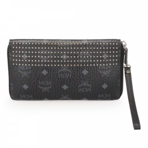 MCM Visetos Studded Leather Wallet