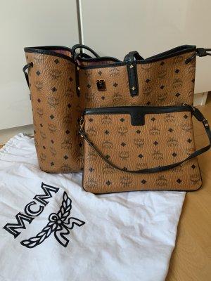 MCM Shopper noir-beige cuir
