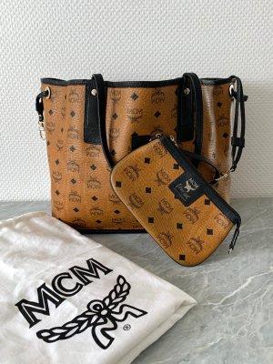MCM Wendeshopper Patricia Field Limitierte Edition Tasche Tote Bag cognac schwarz Clutch