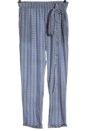 Md'M Luźne spodnie biały-niebieski Na całej powierzchni Elegancki