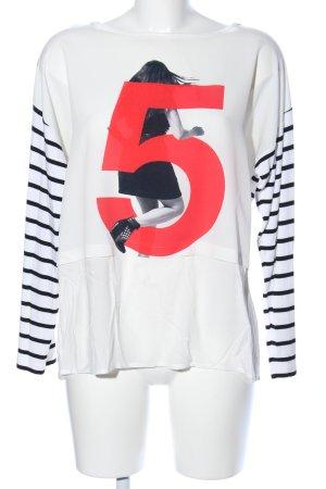 me & lou Sweatshirt schwarz-weiß Motivdruck Casual-Look