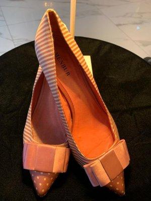 Mebur Schuhe 39 rosa Pumps mit Schleife gestreift und Punkte