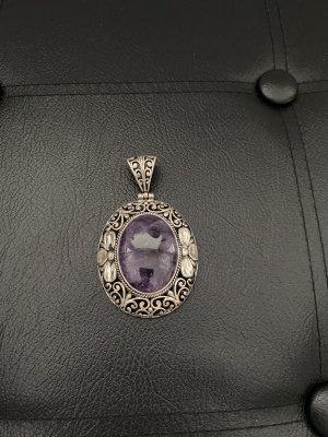 Medalik srebrny-szaro-fioletowy