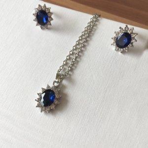 Pendant blue-silver-colored