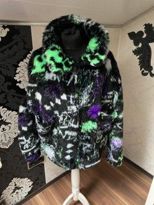 Mega ausgefallene Jaded London Mantel Plüschjacke Kuschel Jacke schwarz bunt Gr S/M